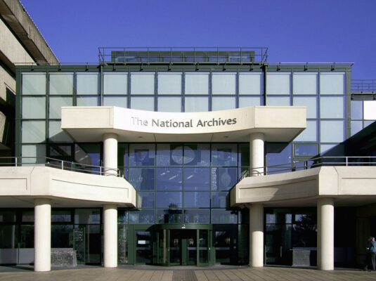 The National Archives building exterior entrance